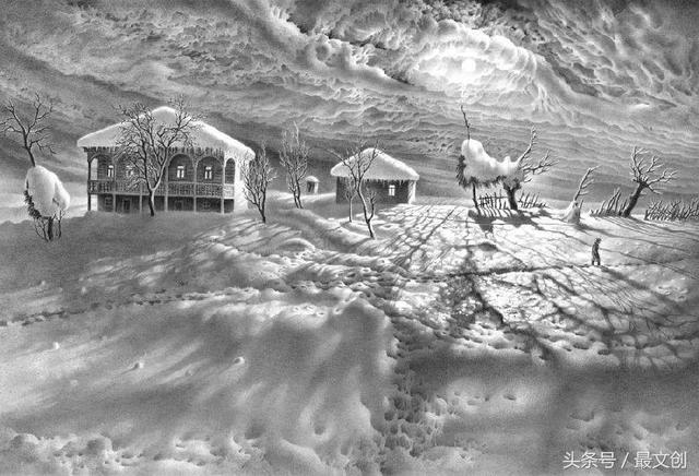 他用铅笔画的雪 连普京都以为是照片